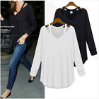 Fashion Women Ladies Long Sleeve T-Shirts Blouse Top Loose Tee Tops Size 8-14