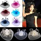 Fashion Woman Fascinator Veil Net Hat Topper Clip Cones Feathers Wedding Races