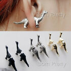 1pc Women Cute Black Gold Silver Dinosaur Ear Studs Earrings Jewelry Decoration