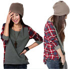 New Fashion Women Casual Long-Sleeve Loose Plaid Checked T-shirt Tops Blouse
