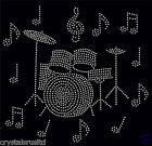 Drum Set + 12 Music Notes iron on Rhinestone Transfer crystal hotfix t-shirt