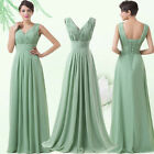 Deep V-Neck Chiffon Formal Long Party Long Bridesmaid Prom Gown Evening Dresses