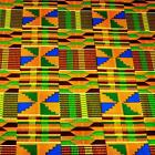 African Kente Print Cloth Cotton Fabric Wax Dyed Gold Green Blue Burgundy Yellow