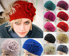 New Crochet Headband Knit hairband Flower Winter Women Ear Warmer Headwrap Lady