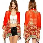 Women NEW Printed Chiffon Cardigan Blouse Floral Shawl Kimono Jacket Tops Куртка