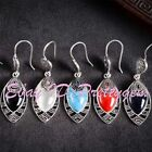 12x22mm Oval Stone Tibetan Silver Fashion Classical Dangle Stud Earring 1 Pair