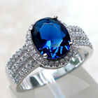 COOL 3 CT SAPPHIRE 925 STERLING SILVER RING SIZE 5-10