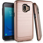 Samsung Galaxy J2 Core Brushed HYBRID Shockproof Carbon Fiber Trim Case Cover