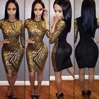 Sexy Womens Clubwear Cocktail Party Mini Dress 3/4 Sleeve Sequins Dress Q7XY