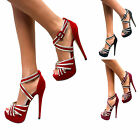 Strappy Ladies New High Heel Womens Sandals Ankle Strap Shoes Peep Toe Size