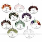Handmade Silver Wire Tree of Life Chip Beads Crystal Natural Gemstone Pendant