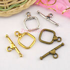10Sets Tibetan Silver,Antiqued Gold,Bronze Leaf Connectors Toggle Clasps M1422