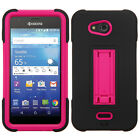 Kyocera Hydro Air C6745 IMPACT Hard Rubber Phone Cover Kickstand +Screen Guard