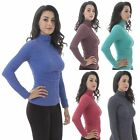 Basic Sexy Soft Seamless Stretch Long Sleeve Mock Neck Turtleneck Blouse Top