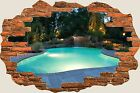 3D Hole in Wall Enchanted Swimming Pool View Wall Stickers Art Wallpaper 259