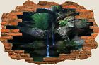 3D Hole in Wall Enchanted Waterfall View Wall Stickers Mural Film Wallpaper S50