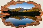 3D Hole in Wall Exoitic Mountain Lake View Wall Stickers Film Art Wallpaper S88