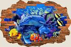 3D Hole in Wall Fantasy Dolphins Under Sea View Wall Stickers Film Art Decal 448