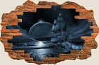 3D Hole in Wall Fantasy Pirate Ship View Wall Stickers Film Art Wallpaper 492