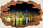 3D Hole in Wall San Francisco Skyline View Wall Stickers Decal Mural 847