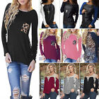 Sexy Womens Casual Lace Crochet Pullover Blouse Tops Long Sleeve Loose T-Shirt