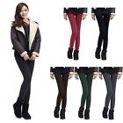 Women Warm Golden Bright Silk Faux Cashmere Thickened Leggings Tight Pants