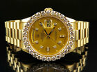 18K Mens Yellow Gold Rolex Presidential Day-Date 36MM Prong Diamond Watch 5.5 CT
