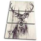 Stag Deer Vintage Shabby Chic Animals TREBLE CANVAS WALL ART Picture Print