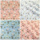 Easter bunny & owls 100% COTTON POPLIN fabric per 1/2 metre pink or blue