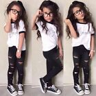 Baby Girls Outfits Tops+Ripped Legging Trousers 2pcs Outfits Clothes Set 2-7Year