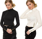 Womens Stretch Turtle Polo Neck Zip Detail Long Sleeve Ribbed Ladies Crop Top