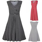 Glamour Empire. Women's Polka Dot Skater Dress. Sleeveless. Empire Waist. 110