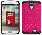 ROSE PINK & BLACK Dazzle Bling Hybrid Cover Case for LG F70 / Access LTE