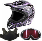 Snowmobile Helmet Snocross Purple Splatter With Breathbox And Goggles Adult DOT