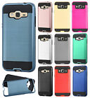 For Samsung Galaxy j3 Brushed Metal HYBRID Rubber Case Snap Cover + Screen Guard