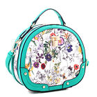 Dasein Floral Print Faux Leather Padlock Trunk Satchel