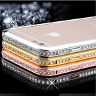 DIAMOND CRYSTAL BLING METAL ALUMINUM BUMPER CASE COVER FOR IPHONE 4 4S 5 6 Plus