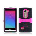 For Cricket LG Risio Hard Gel Rubber KICKSTAND Case Protector Phone Cover