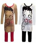 GIRLS BETTY BOOP CHARACTER PYJAMAS SET - 2 COLOR, BROWN & CREAM - 8 TO 12 YEARS