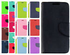 For Cricket LG Risio Premium Leather 2 Tone Wallet Case Pouch Flip Cover