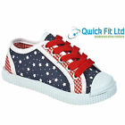 BRAND NEW INFANT GIRLS CANVAS FLAT LACE UP TRAINERS PLIMSOLES SHOES UK SIZES