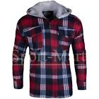 mens Sherpa Fleece Lined Check Plaid Lumberjack Winter Jacket Warm Hooded Coat
