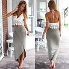 2PCS Women Summer Boho Halterneck Long Maxi Evening Party Dress Beach Dress DZ88
