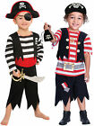 Boys Pirate Costume + Hat Child Kids Fancy Dress Book Week Day Toddler Age 3 4 5