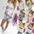 Boho Womens Summer Loose Tops Blouse Floral Casual Long Sleeve T-shirt Pullover