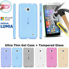 Ultra Thin Clear Gel Phone Case & Tempered Glass Cover for Nokia/Microsoft Lumia