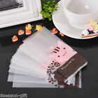 HX 50PCs Pink Cat Frosted Plastic Bags Cookie Candy Cellophane Bags Party