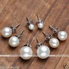 Fashion 925 Sterling Silver Freshwater Pearl Ball Earring Ear Stud Women Jewelry
