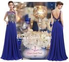LOLITA Cobalt Blue Gold Beaded Art Deco Chiffon Maxi Evening Prom Dress UK 6 -14