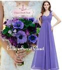 ELODIE Violet Corsage Chiffon Maxi Prom Evening Bridesmaid Dress UK 6 -18